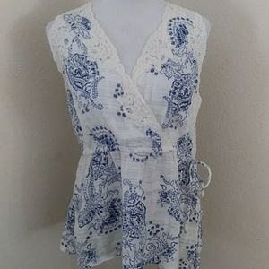 Cabi Top With Crochet Detailing. Size XL